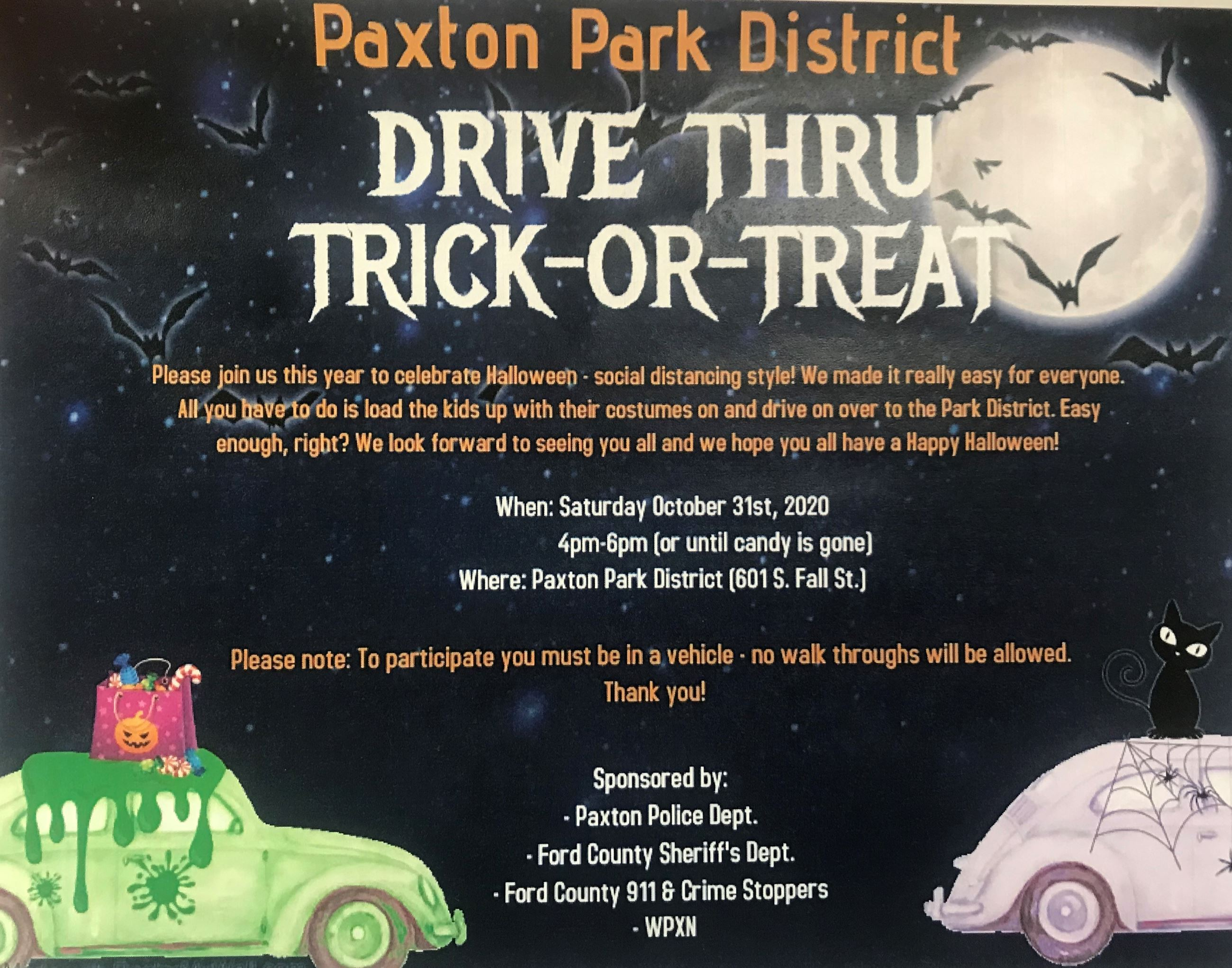 Park District Drive Thru Trick-or-Treat